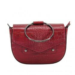 Bag with shoulder strap in crocodile print