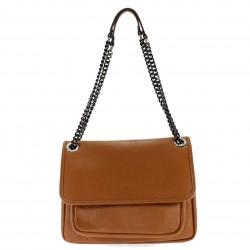 Leather shoulder bag with flap