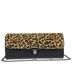calf hair leather clutch