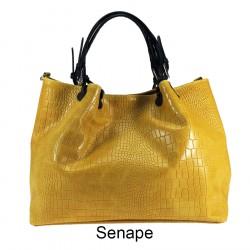 Printed leather handbag