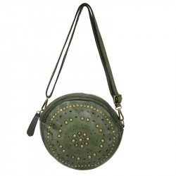 Round bag in washed leather with decorations