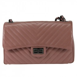 Leather quilted shoulder bag with chain