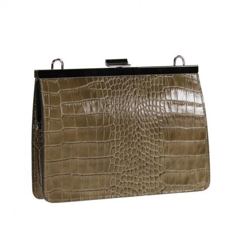 Crocodile print clutch bag