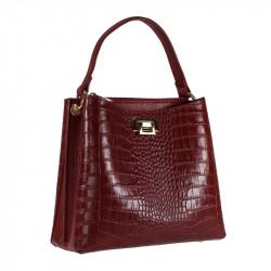 Handbag with cocco print leather