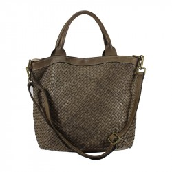 Vintage bag with fine weave genuine leather