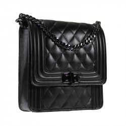 Quilted leather shoulder bag with chain