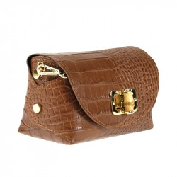 Shoulder bag in crocodile print leather