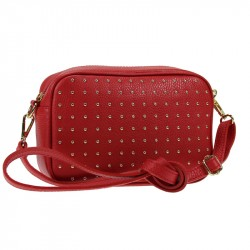 Leather fine rivet trendy pouch