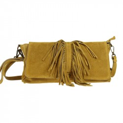 Suede bag with fringes