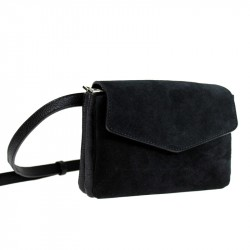 Shoulder belt bag with suede leather