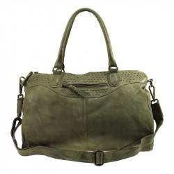 Винтажная кожаная сумка с заклепками