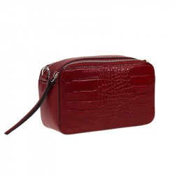 Crossbody leather bag - crocodile print - 2 zip - small