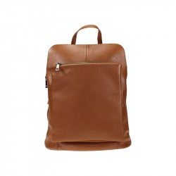 Leather backpack bag with external pocket