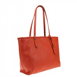 Leather shopper with zip