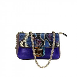 Patchwork bag with chain shoulder strap