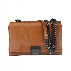 Croc print shoulder bag