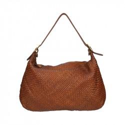 Shoulder bag in woven leather
