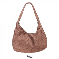 Shoulder bag with woven leather