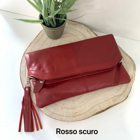Leather pochette with strap