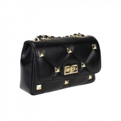 Leather crossbody with studs
