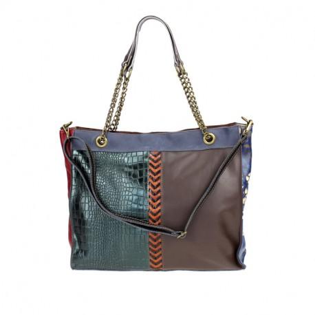 Multicolored leather bag