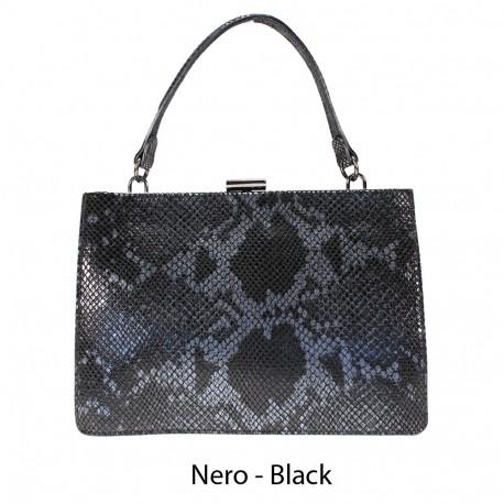 Handbag in python printed leather