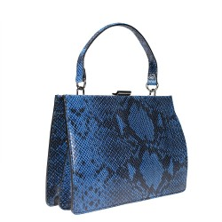 Handbag in python printed leather