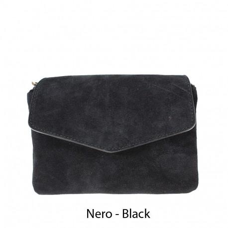 Shoulder bag with suede