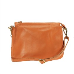 Leather clutch bag with shoulder strap