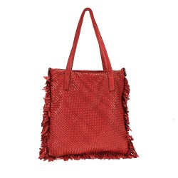Woven bag with fringes