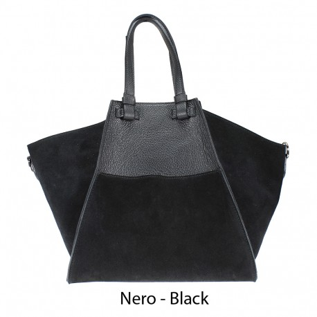 Leather shoulder bag with suede